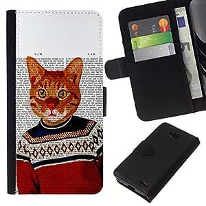 All Phone Most Case / Oferta Especial Cáscara Funda de cuero Monedero Cubierta de proteccion Caso / Wallet Case for LG OPTIMUS L90 // Cat Art Orange Ginger Garfield Yellow