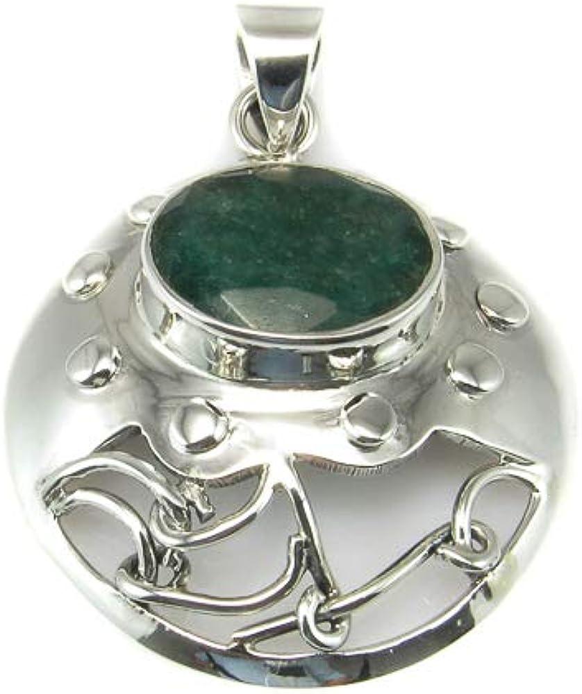 Minoplata Colgante de Plata de Ley con Piedra Agatha Verde un diseño Precioso para una Mujer Amante de los complementos