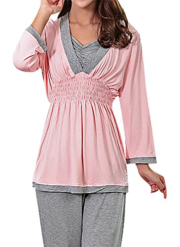 US&R Women's Panelled V Neck Maternity Breastfeeding Long Sleeve Pajama Set, Pink S ,Manufacturer(M) Classic Ruffle Capri Pajama