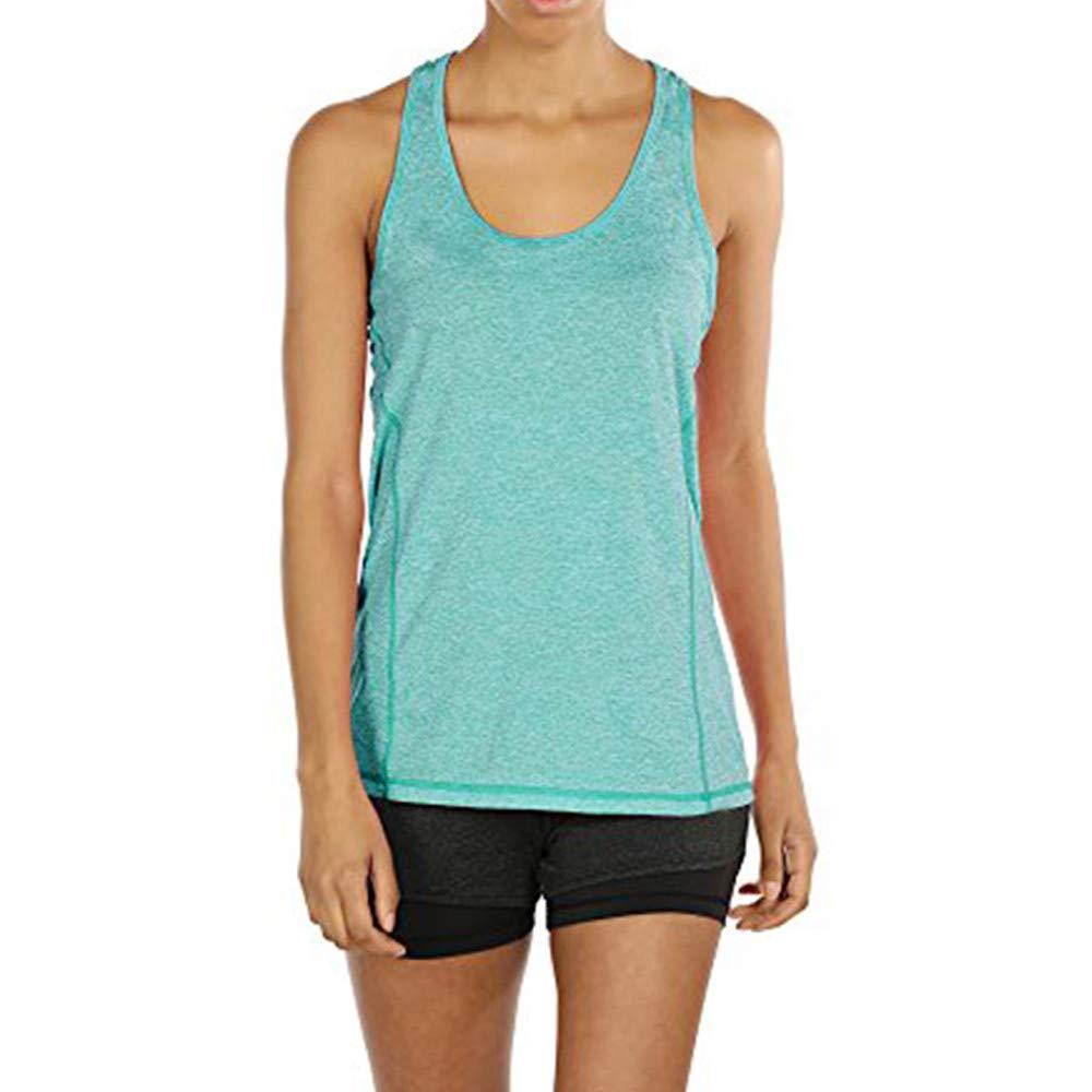 Women Activewear Running Vest Workouts Yoga Cami Sport Sleeveless Racerback Tank Top Hat Blouse Square Neck Shirt Green