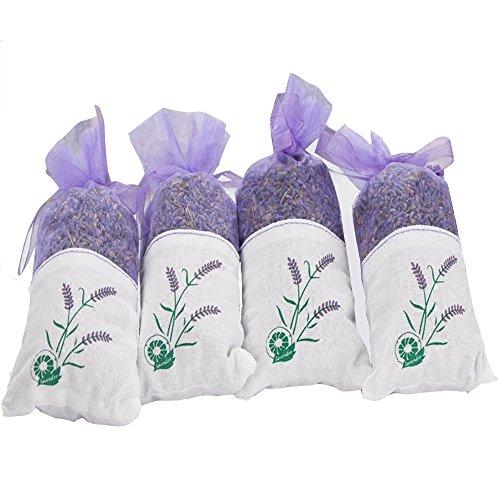 HKYIYO 4 Pcs 100% Pure Dried Lavender Flowers Bags for Living Room Bathroom Bedroom Wardrobe Drawer Car Air Fragrance Sachets