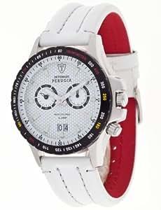 Detomaso DETOMASO PERUGIA Alarm DT1030-C Classic DT1030-C - Reloj cronógrafo de cuarzo para hombre, correa de cuero color negro (cronómetro, alarma)