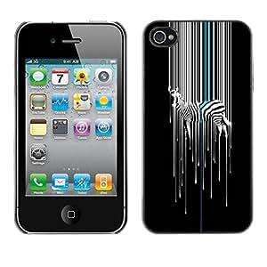 LASTONE PHONE CASE / Slim Protector Hard Shell Cover Case for Apple Iphone 4 / 4S / Art Minimalist White Black Stripes