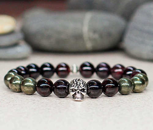 Handmade genuine garnet and pyrite gemstone Viking skull charm bracelet Unisex Men and women fashion punk style gothic jewelry Halloween biker accessories Birthday gift idea -