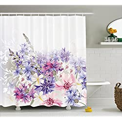Lavender Shower Curtain Set by Ambesonne, Pink Purple Cornflowers Bridal Classic Design Gentle Floral Art Wedding Decorations Print, Fabric Bathroom Decor with Hooks, 75 Inches Long, Violet Pink White