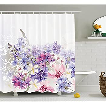 This Item Lavender Shower Curtain Set By Ambesonne, Pink Purple Cornflowers  Bridal Classic Design Gentle Floral Art Wedding Decorations Print, ...