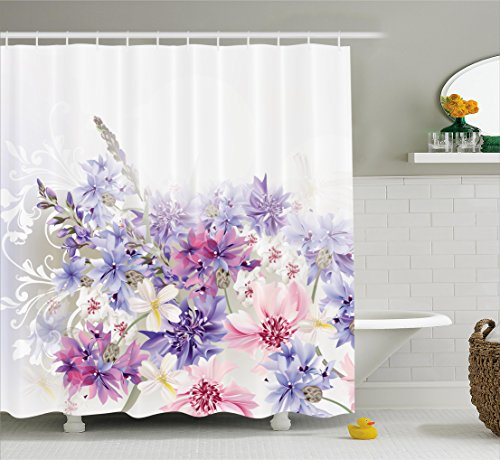 Curtain Set Pink Purple Cornflowers Bridal Classic Design Gentle Floral Art Wedding Decorations Print Fabric Bathroom Decor With Hooks 70 Inches