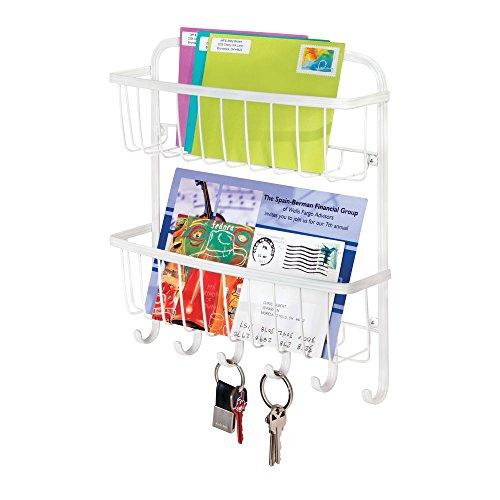 mDesign Wall Mount 2-Tier Mail, Letter Holder, Key Rack Organizer for Entryway, Kitchen - Matte White …