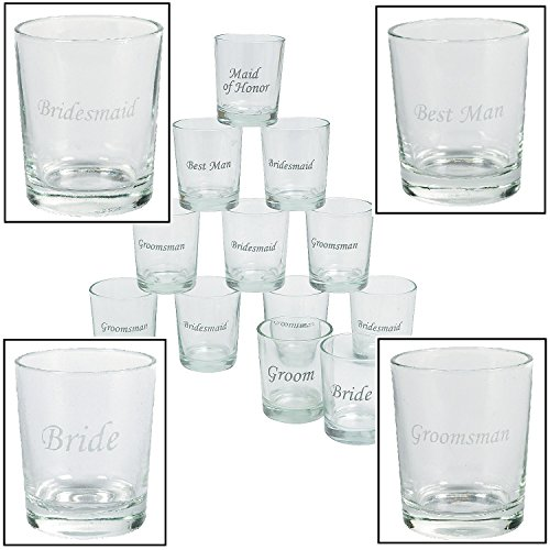 Etched Wedding Party Shot Glasses (12 Pieces) 1 oz. 2