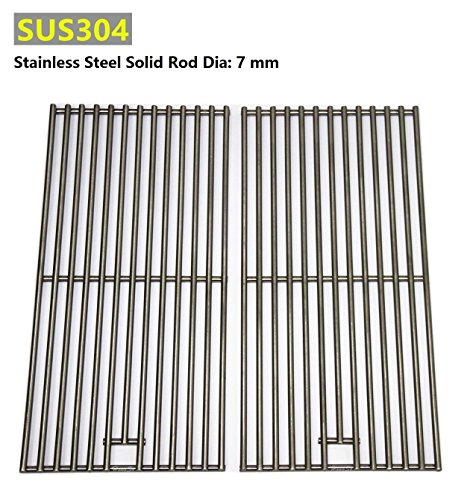 Hongso SC1702 (2-pack) BBQ Solid Stainless Steel Wire Cooking Grid, Cooking Grate Replacement for 2 burner Char-Broil 463645015, 466645015, 466645115 and Others. (Burner Grid)