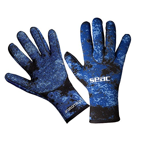 SEAC 3.5mm Camo Scuba Diving Spearfishing Gloves, Blue/Camouflage, Large