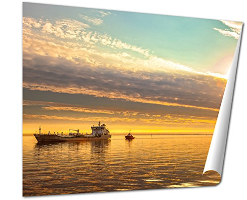 Ashley Giclee Fine Art Print, Tanker And Tugboat On Sea Early Morning Just Before Sunrise, 16x20, AG6315013