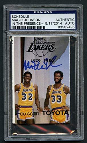 Magic Johnson Autographed Signed Autograph Auto 1979-80 Rookie Year Pocket Schedule PSA/DNA Slab ()
