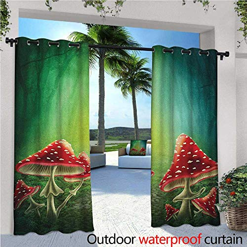 Wizard 2 Embroidery - familytaste Mushroom Outdoor Blackout Curtains Dark Forest with Mushrooms Adventure Misty Mysterious Wizard Witch Magic Outdoor Privacy Porch Curtains W120 x L84 Sea Green Red Cream