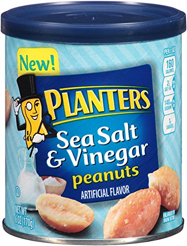 Planters Flavored Peanuts, Sea Salt and Vinegar, 6 Ounce (Pack of 8)