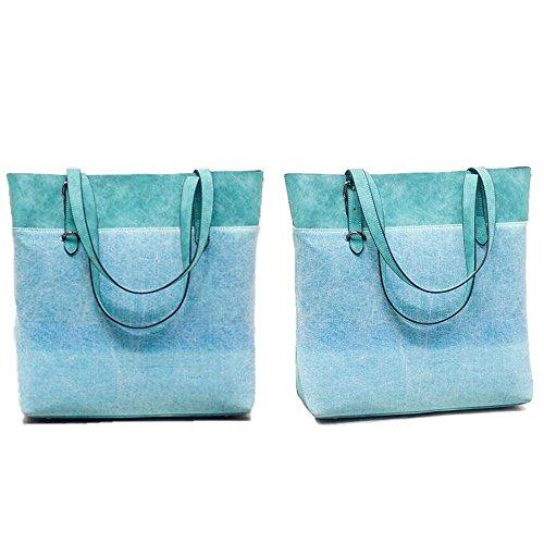 Gradient Shoulder Printed bag canvas ramp handbag Hobo Blue bag Women Tote P6fwUq