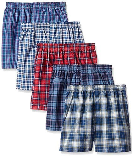 Fruit of the Loom Boys' Woven Boxer, Exposed and Covered Waistband (Pack of 5)