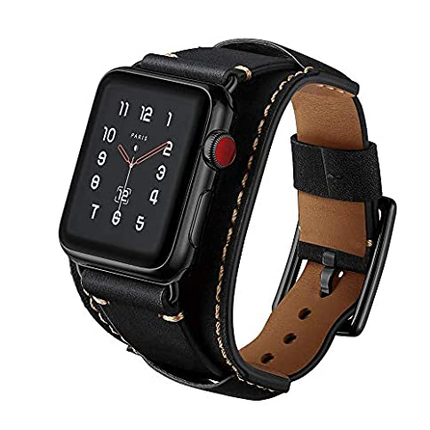 - 51VTfwFmtEL - GOSETH Compatible with Apple Watch Band 44mm/42mm/40mm/38mm, iwatch Genuine Leather Band Replacement Strap with Stainless Steel Clasp Compatible iWatch Series4/3/2/1