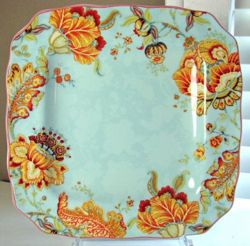 222 Fifth Gabrielle Spring Blue Square Dinner Plates, Set of