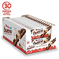 30-Pack Kinder Bueno Milk Chocolate and Hazelnut Cream Candy Bar, 2 Individually Wrapped Bars Per Pack