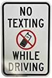 """Brady 129481 Traffic Control Sign, Legend """"No Texting While Driving"""", 18"""" Height, 12"""" Weight, Black and Red on White"""