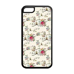 5C Phone Cases, Cute Floral Pattern Hard TPU Rubber Cover Case for iPhone 5C