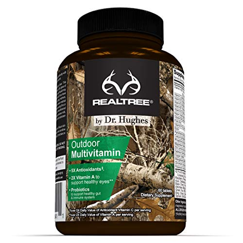 Realtree Daily Multivitamin by Dr Hughes | Antioxidant: Vitamin C (5X) and Vitamin E (2X) | Energy: Vitamin B12 B6 | Eye Health: Vitamin A (2X) | Probiotic | Vitamin D (D3 | NSF Certified | 60 Tablets