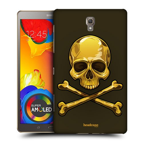 Head Case Designs Gold Skulls and Crossbones Protective Snap-on Hard Back Case Cover for Samsung Galaxy Tab S 8.4 LTE T705 WIFI T700
