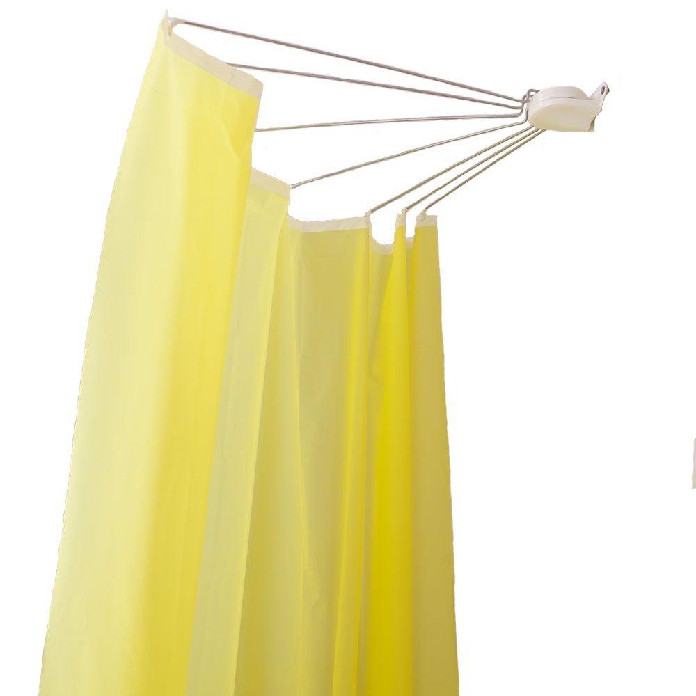 Baoyouni Bathroom U Shaped Corner Shower Curtain Rod Pole, Decorative Curved Bath Curtain Rail Bar with Suction Cup 98 x 102cm LTD.