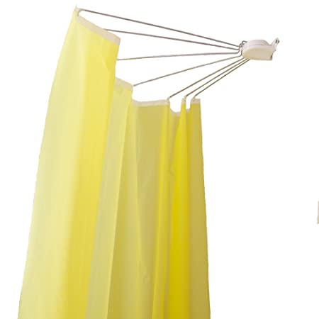 Baoyouni Foldable Wall Mounted Shower Curtain Rod Space Saver Stainless Steel Fan Shaped Bath