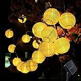 AveyLum Solar Lantern Warm White Outdoor String Lights 20 LEDs 16.4ft Waterproof Garden Fairy Lights for Party, Patio, Christmas, Halloween, Wedding Lighting Decoration