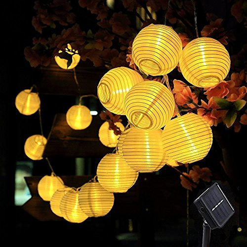 AveyLum Solar Lantern Warm White Outdoor String Lights 20 LEDs 16.4ft Waterproof Garden Fairy Lights for Party, Patio, Christmas, Halloween, Wedding Lighting Decoration by AveyLum