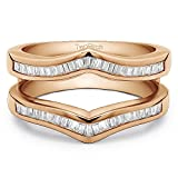 TwoBirch Classic Contour Style Ring Guard Enhancer with 0.43 carats of Cubic Zirconia in Rose Gold Plated Sterling Silver