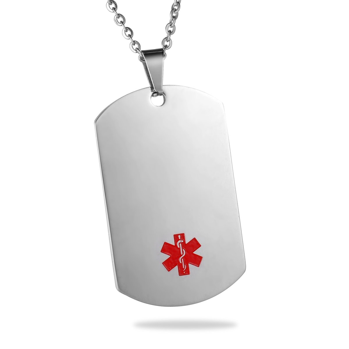 HooAMI Stainless Steel Medical Alert ID Tag Pendant Necklace 22'' Chain - Free Engraving