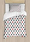Lunarable Casino Duvet Cover Set Twin Size, Retro Style Pattern Classical Colors with Playing Card Suits Gamble Gaming Luck, Decorative 2 Piece Bedding Set with 1 Pillow Sham, Black White Red