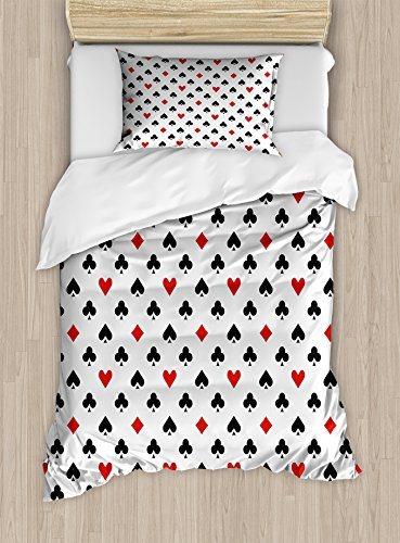 Lunarable Casino Duvet Cover Set Twin Size, Retro Style Pattern Classical Colors with Playing Card Suits Gamble Gaming Luck, Decorative 2 Piece Bedding Set with 1 Pillow Sham, Black White Red by Lunarable