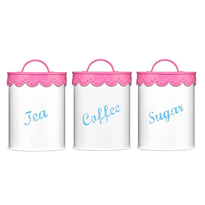 Premier Housewares Set Of 3 Tea Coffee Sugar Canisters With Pink
