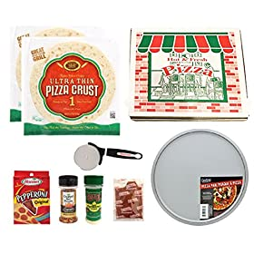 Pizza Gift – Italian Food Gift – Complete Box Meal – Complete Meal Kit – Pizza Kit Survival Gift – Makes 2 Large Pizza, Ships in Pizza Box – Campus Care Package – (Pepperoni Pizza)