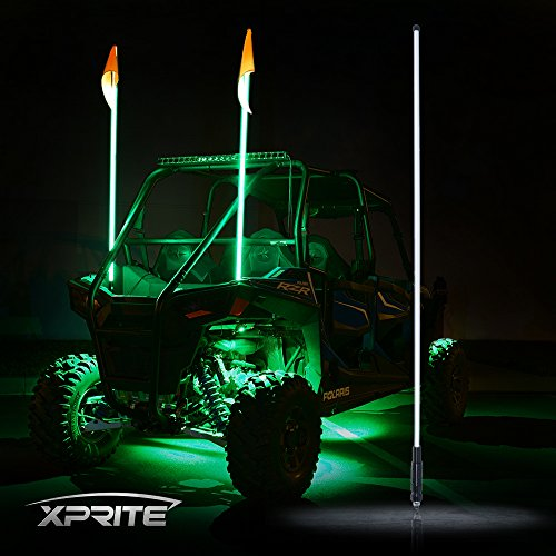 Flag Rig (Xprite 5ft 1.5M LED Flag Pole Safety Whip Lights for Sand Dune Buggy UTV ATV 4X4 Truck Jeep - GREEN )