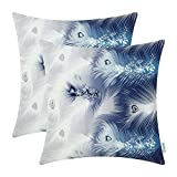 CaliTime Pack of 2 Cozy Fleece Throw Pillow Cases Covers Couch Bed Sofa Fantasy Peacock Feathers Printed 18 X 18 Inches Navy Blue