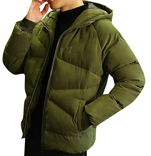 today Color Loose Jacket Hooded Green Sleeve Padded Solid Down Mens Long Casual UK Winter Ixznr8I7Sq