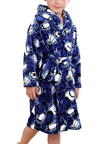 Boys Flannel Robe - Suplove Boys Flannel Children's Robe Coral Velvet Pajamas Baby Bathrobes (6-7 Years, Blue)