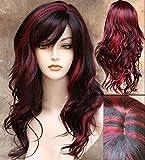 Peluca de pelo sintético ondulado de longitud media para mujer en color negro y rojo, para fiestas de disfraces