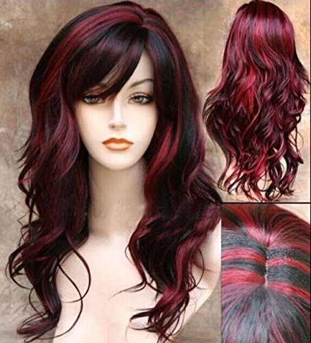 [Imcolorful Sceret Synthetic Women Curly Wavy Black with Wine Red Cosplay Party Long Hair Full Wig] (Long Red Wigs)