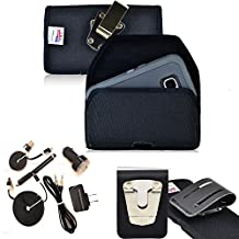 Rugged Heavy Duty Ballistic Nylon Horizontal Duty Belt Case with Magnetic Closure and 6pc USB Charging Kit fits Samsung Galaxy Note 5 with an Otterbox Case on it.