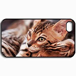 Personalized Protective Hardshell Back Hardcover For iPhone 4/4S, Cats Bengal Cat Design In Black Case Color