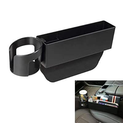 AUCD Car Seat Gap Filler, Console Side Pocket with Detachable Cup Holder Car Seat Catcher Car Organizer for Car Interior Accessories, Black: Automotive