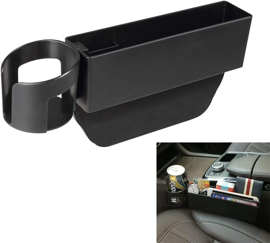 AUCD Car Seat Gap Filler, Console Side Pocket with Detachable Cup Holder Car Seat Catcher Car Organizer for Car Interior Accessories, Black