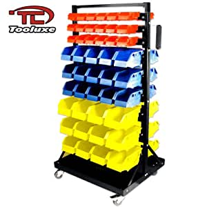Tooluxe 53015L Parts Cart Organizer with 90 Polypropylene Bins and Lockable Casters   Steel Frame