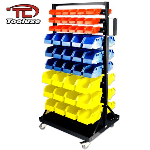 Tooluxe 53015L Parts Cart Organizer with 90 Polypropylene Bins and Lockable Casters | Steel Frame